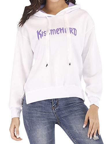 Dresswel Frauen KISS ME Hard Brief Print Side Split einfarbig lässig Pullover Drawstring Hoodies - Split Print Pullover