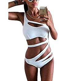 ZhuiKun Costume da Bagno Intero Donna Costumi Obliquo Fiore Headband Bikini One Pice Trikini Swimwear Bianco S