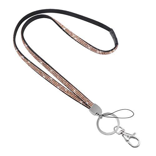 Soleebee 80cm Bling 1000pcs+SS6 feinste 14 Facetten Premium Kristalldiamant Leder Schlüsselband Umhängeband Lanyard mit Karabinerhaken Schlüsselring für Abzeichenhalter Schlüsselanhänger (Champagner) -