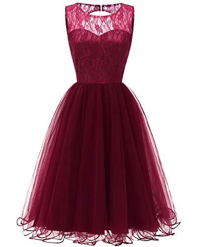 Viloree Damen Spitze Tutu Brautjungfern Abend Cocktail festlich Knielang Kleid Burgundy 2XL -
