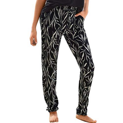 RISTHY Pantalones de Playa Vacaciones Mujer Pantalones Hippies Tailandeses Estampado Leggins Verano Cintura Alta Elastica con Bolsillos para Yoga Casual