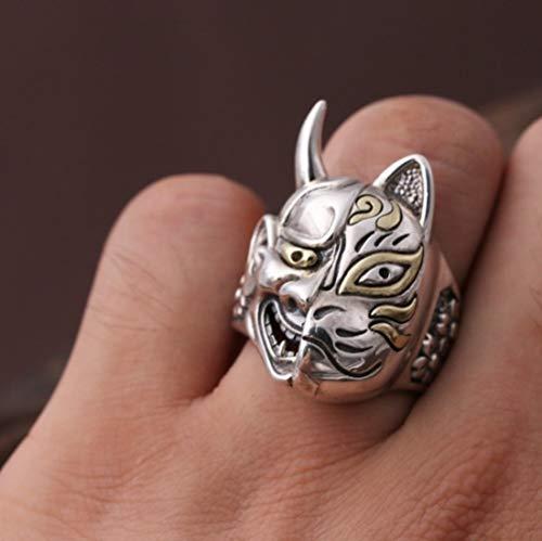 GHY Ring Mode S925 Sterling Silber Ring Ornamente Trend Vintage Thai Silber Prairie Maske Ringe,19#,Einheitsgröße