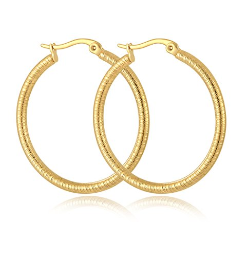 ae6b2930b Yumay 9ct Yellow Gold Ladies Twist Hoop Earrings,35MM Fashion Earrings with  Jewellery Box for Womens. - Buy Online in Oman. | Jewellery Products in  Oman ...