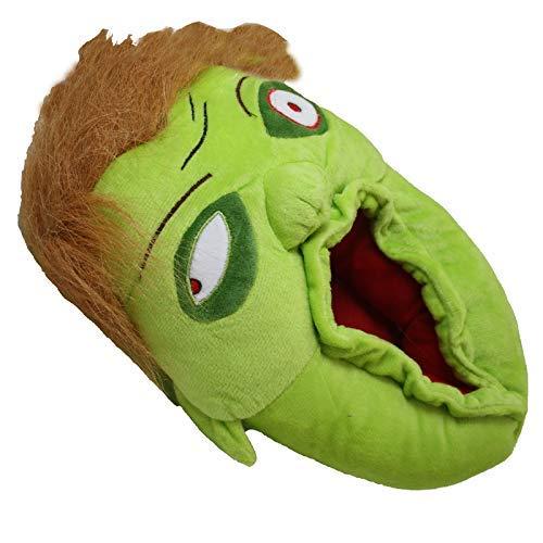 Mens Kids Novelty Zombie Green Slippers Halloween Fun Slip On Gift