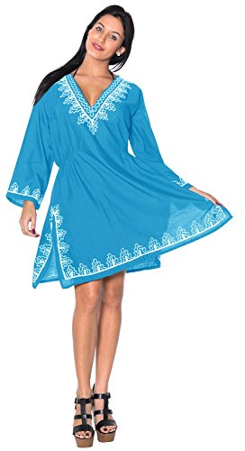 La Leela SUPER Doux RAYON Hand Embroidered Deep V Neck Bademode Damen Übergröße Size Casual 4 IN 1 Strand BIKINI Badmode TUNIC TOP LOUNGEWEAR BASIC kleid Kaftan Blau
