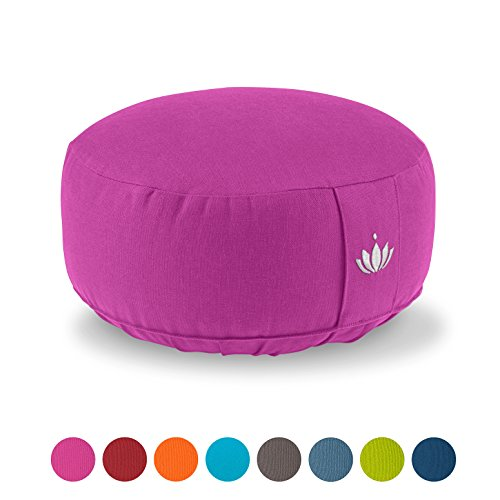 Lotuscrafts Coussin de méditation / Yoga LOTUS (H : 15cm) - coton Bio - certifié GOTS - H : 15cm - Broderie Lotus