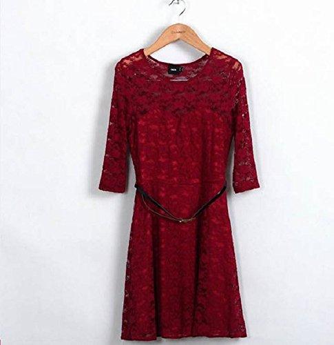 Malloom® 1pc Femmes Dentelle Sexy Robe Soirée D'été Clubwear Creux + Ceinture Vin rouge