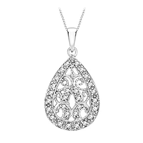 Carissima Gold 9 ct White Gold 0.15 ct Diamond Filigree Teardrop Pendant on Chain Necklace of 46 cm/18 inch