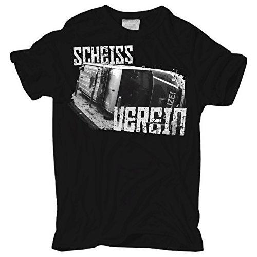 Männer und Herren T-Shirt SCHEISS VEREIN Schwarz