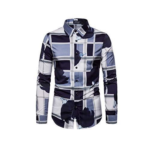 Yuhuali 2019 autunno e inverno nuova camicia da uomo a maniche lunghe elastica con stampa scozzese sottile 01 l