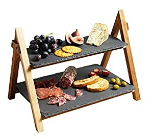 Artesà 2-Tier Wooden Cake / Antipasti Stand with Slate Serving Platters, 40 x 30 x 25 cm