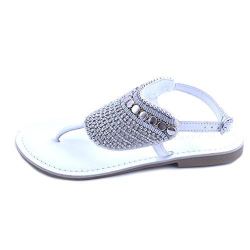 Cafènoir sandali infradito donna cafe'noir in pelle bianca con perline e strass a fantasia etnica. cinturino alla caviglia. taglia 36
