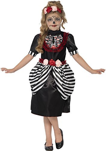 Mädchen Zuckerschädel Tag der Toten Mexikanisch Blumenmuster Halloween Kostüm Kleid Outfit & Stirnband 4-12 Jahre - Schwarz, 7-9 years