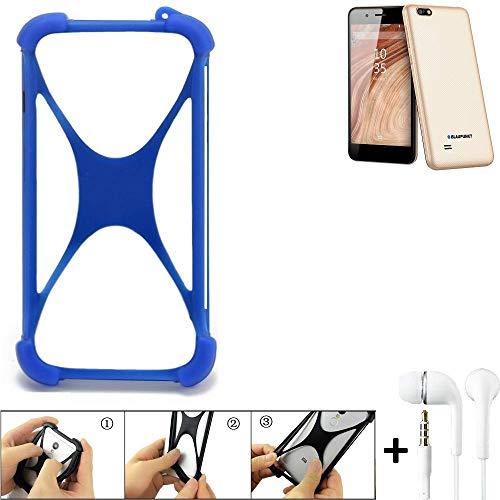 K-S-Trade Handyhülle für Blaupunkt SL 04 Bumper Schutzhülle Silikon Schutz Hülle Cover Case Silikoncase Silikonbumper TPU Softcase Smartphone, Blau (1x), Headphones