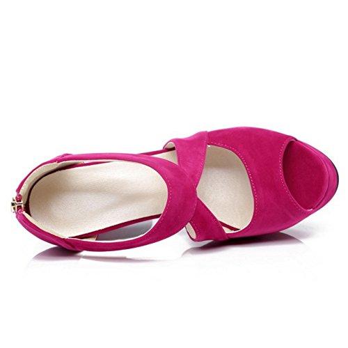 TAOFFEN Femmes Peep Toe Sandales Soiree Classique Plateforme Talons Hauts Chaussures De Boucle 640 Fuchsia