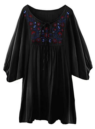 Ärmel Tunika Bluse (FUTURINO Damen Sommerkleid Bohemian Stickerei Floral Tunika Shirt Bluse Flowy Minikleid (M, TieBlack))