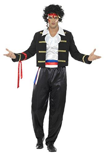 Jahre Kostüm 80er Haarband - Smiffys Herren 80er Jahre Neue Romantik Kostüm, Jacke, Hose, Hemd und Haarband, Größe: XL, 44751
