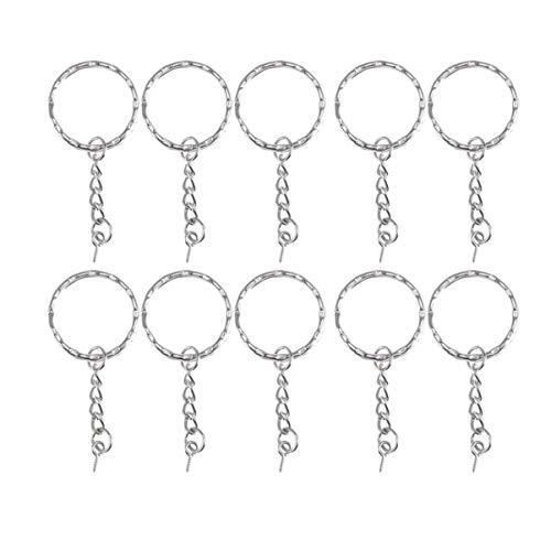 HEALLILY 100 Stück Metallschlüssel Split Kettenblatt mit Kette Silber Schlüsselring Schlüsselanhänger Ring Teile Offenen Biegering Und Stecker für DIY