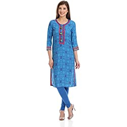 Rangriti Women's Straight Kurta (INDIAN C1081_Blue_38)