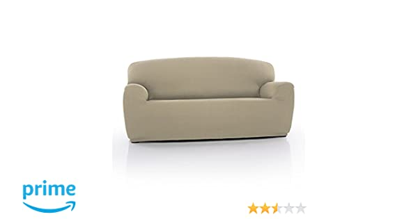 Beige 220 cm Stretch Fitted Protector Homescapes Three Seater Iris Sofa Cover Elastic Easy Fit Soft Triple Seater Couch Slipover to fit Three Seater Size Settee 180