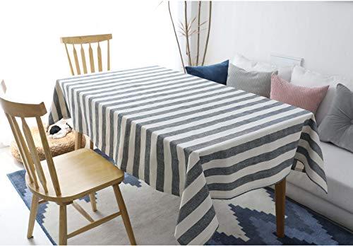 DEENLI Tischdecke Tischtuch Tischläufer Tischwäsche, Einfarbig Pflegeleicht Waschbar, Garngefärbte Baumwolle Gestreift Marine Ymq56