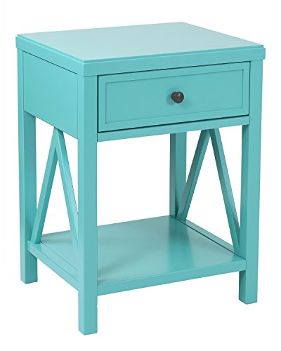 East At Main Walton Acacia Wood Square Accent Table, Turquoise, (15
