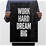 TOTAL HOME:Work Hard Dream Big Wall Art Black And White Poster Motivational Quotes Canvas Print Minimalist Print Home Decor Living Room Decoration Bedroom Picture Paintings Modern Design For Men Women Boys Girls Large Size Murals (A3 Size 12 In X 18 Inch)