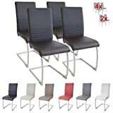 Albatros MURANO - Set di 4 sedie cantilever, eleganti, certificate SGS, imbottite, colore: Nero