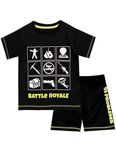 Battle Royale Pijamas Manga Corta niños Gaming Negro
