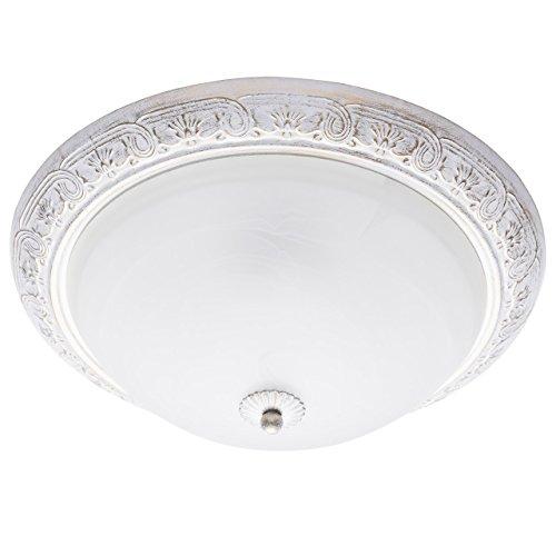 Plafonnier Rond de Style Classique en Métal Blanc Doré et Verre Mat pour Salon ou Chambre Bas Plafond 3x60W E27