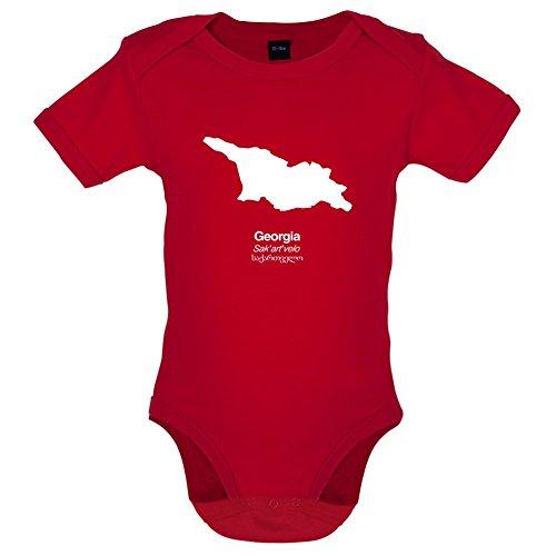 Georgien 12 (Dressdown Georgia/Georgien Silhouette - Lustiger Baby-Body - Rot - 12 bis 18 Monate)