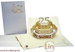 Idea Regalo - LIN Pop Up Biglietti di Matrimonio Inviti, matrimonio, anniversario 3d copertura 25. hochzeitj ubiliaeum, Argento Matrimonio, 25. torta nuziale