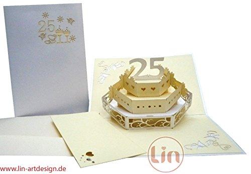 Lin de Pop up Cartes de mariage mariage cartes, invitations, cartes 3D anniversaire 25 hochzeitj ubiliäum, mariage, 25 gâteau de mariage