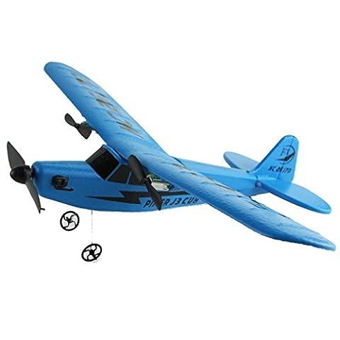 Hélicoptère Jouet Enfant, Manadlian Télécommande RC hélicoptère planeur avion planeur PPE Foam 2.4 g jouets (bleu)