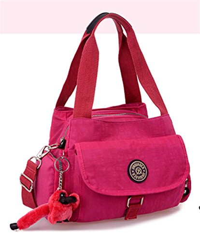 Lavato Nylon Cross-body di spalla delle donne del sacchetto di Totes Satchels Top Handle Bag , rose red