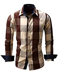 Newbestyle Mens Plaid Shirt Casual Long Sleeve Button Down Shirts