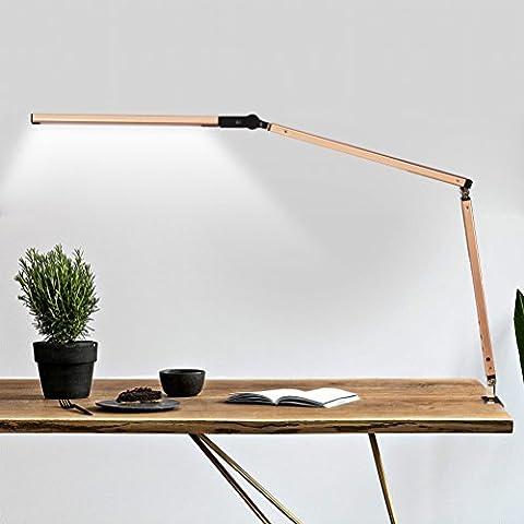Led-schreibtischlampe Lernen Auge Schutz Schreibtisch Schlafzimmer Bedside Kreative Einfache Falten Arbeit Lange Arm Plugging Befestigung (Schwarz Rocker-uhr)