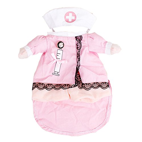 happyquda Pet Halloween Kleidung Krankenschwester Pet Hunde Katzen Funny Apperal Halloween Party Fancy Krankenschwester Kostüm (Krankenschwester Kostüme Hund)