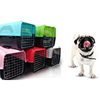 The DDS Store Pet Travel Carrier Dog Cat Rabbit Basket Plastic Handle Hinged Door Folding Collapsible Transport Box…