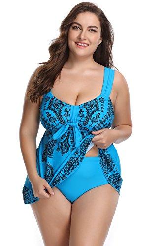 SHEKINI Damen Retro Geblümter Schwimmanzug Badeanzug Große Größen Zweiteiliger Badebekleidung Push up Tankini Bauchweg Bademode Blumen Polster Bikini mit Hotpants Blau