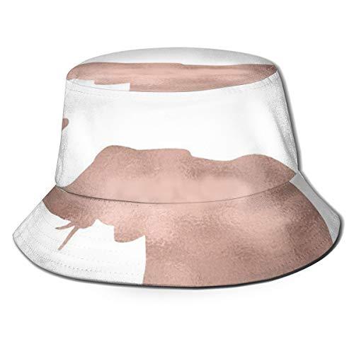 Meiya-Design - Gorra de Pescador Reversible con diseño de Elefante y Amor en Oro Rosa y protección Solar para Mujer y Hombre