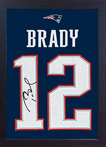 SGH SERVICES New Tom Brady New England Patriots NFL - autógrafo con Marco de fútbol (100% algodón, Enmarcado)