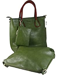 Olive Green Faux Leather Bag Combo For Women