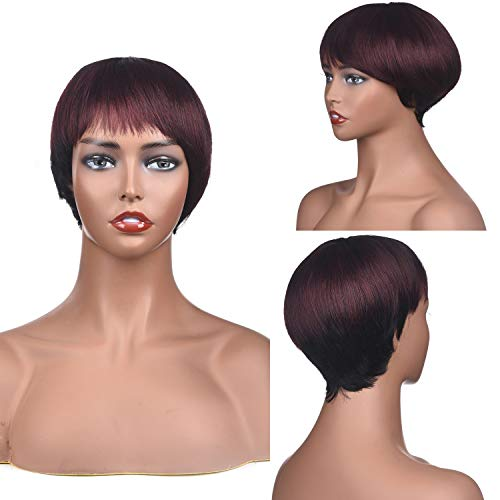 Wigs For Black Women Brazilian Virgin Human Hair Short Wigs With Baby Hair 1b/99j Color ()