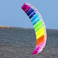 Lovelysunshiny 2m Rainbow Dual Line Stunt Parachute Soft Parafoil Surfing Kite Cometa Grande