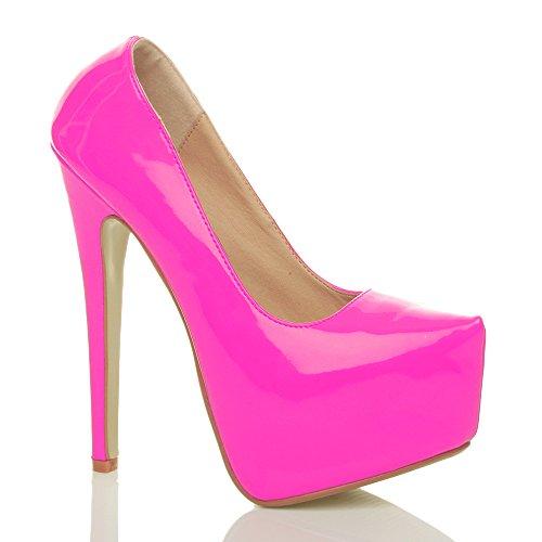 Damen Sehr Hoher Absatz Verdeckter Plateausohle Party Pumps Schuhe Größe Neon Fuchsie Rosa