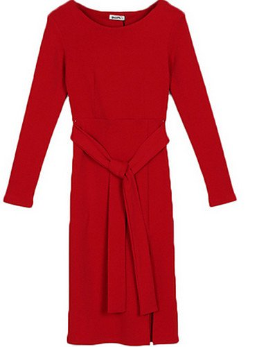 PU&PU Robe Aux femmes Gaine Street Chic,Couleur Pleine Col Arrondi Au dessus du genou Polyester RED-XL