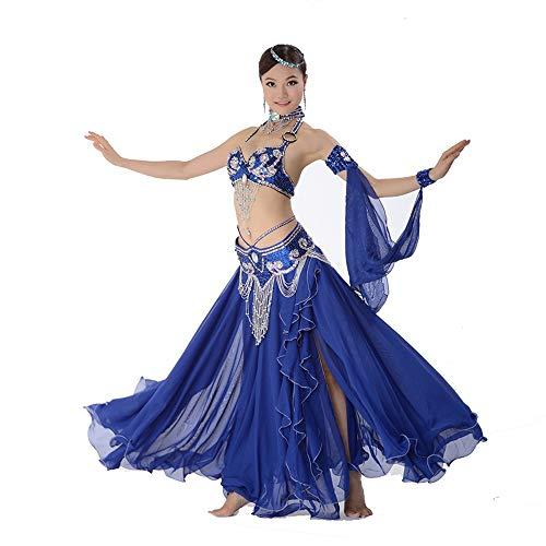 Spanien Lady Kostüm - Jxth-cl Frauenkostüm Tanz Bauchtanz Performance Kleidung Handgemachte Perlen BH Set Bauchtanz Kostüm Performance Kleidung für Ladies Dancing Outfit (Farbe : Blau, Größe : M)