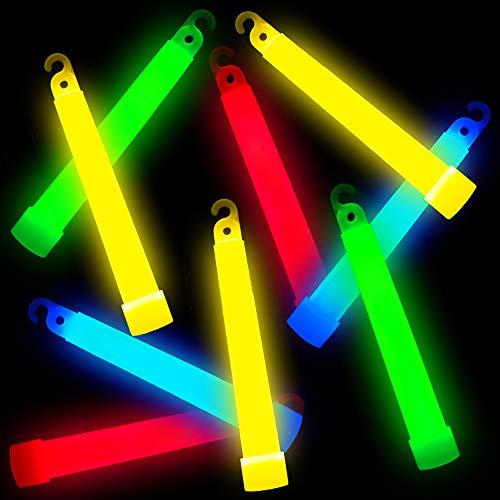 German Trendseller® 6X Knicklichter Party Set┃Glow Stick┃Snap Light┃Leuchstab mit Öse und Band┃Bunte Farben┃6 h Leuchtkraft┃15 cm lang (Preis Von Glow-sticks)