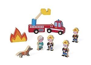 Janod Mini Story set de Figuras de madera, Bomberos (J08515)
